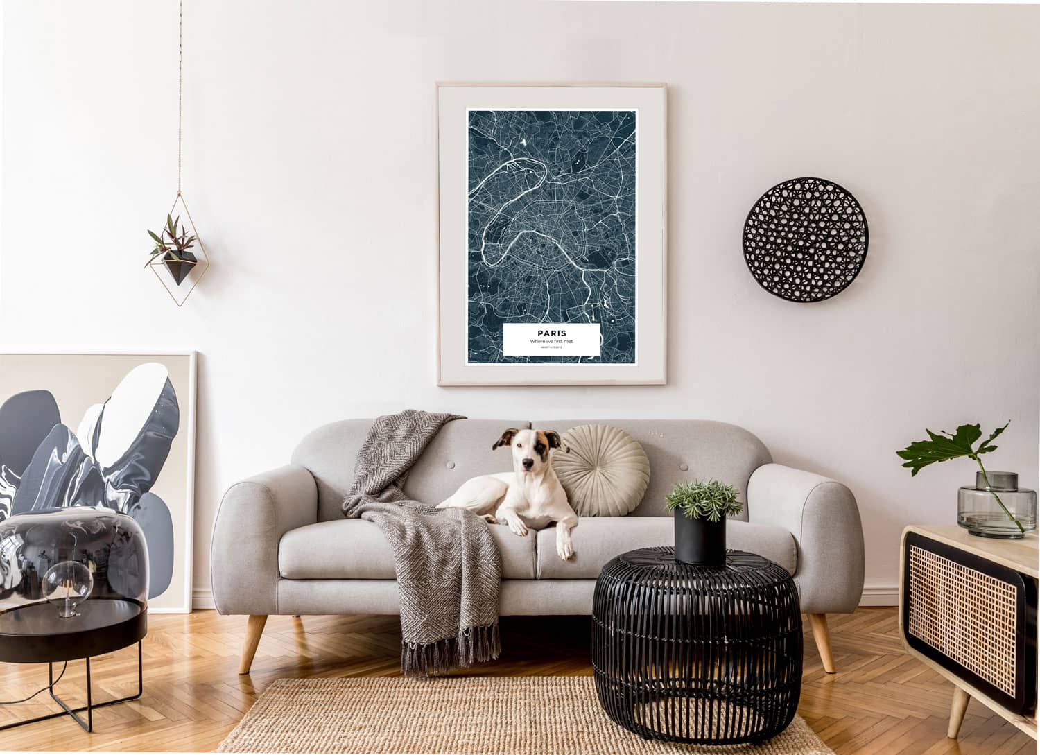 Custom map art in a home
