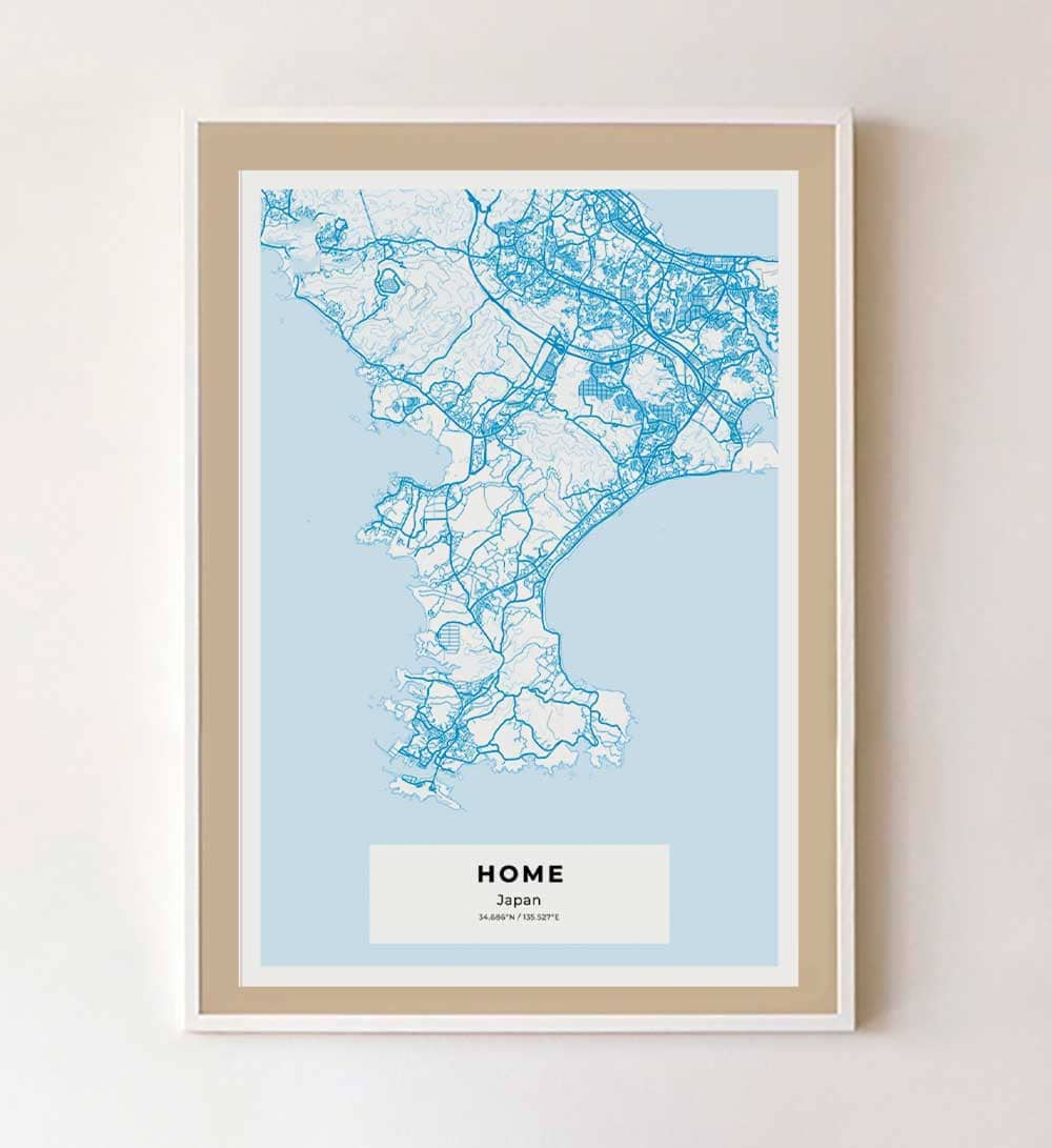 Framed Japanese city map art