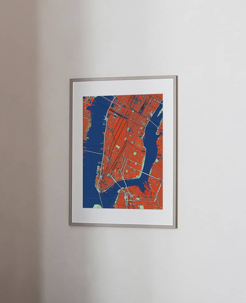 Comic style new york city map print