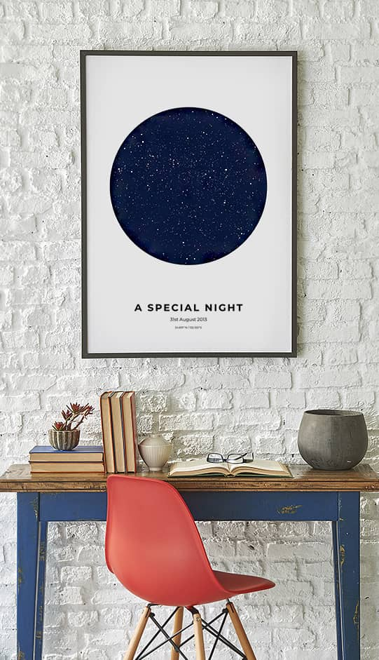 Special night star map print